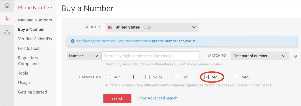 Twilio number capabilities